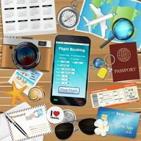 online flight booking app with many travel objects vector