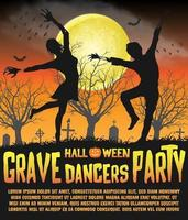 a halloween silhouette grave dancers party poster vector