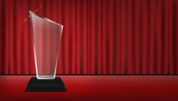 acrylic trophy with red curtain stage background vector