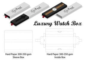 plantilla de dieline de maqueta de caja de manga de reloj de lujo vector