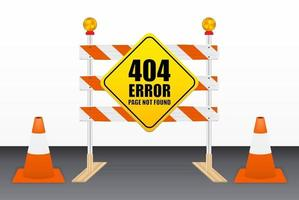 404 error, page not found on road block tools vector