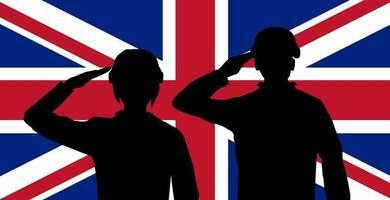silhouette of England soldiers on United Kingdom flag vector