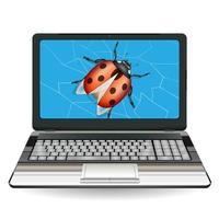 broken laptop computer destroyed by a bug vector