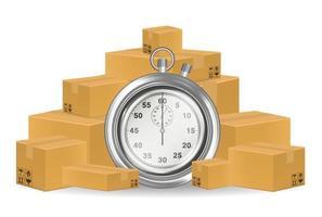 stopwatch with shipping carton boxes vector