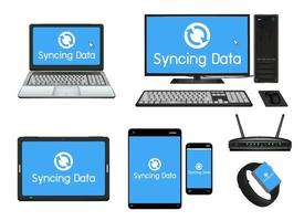 smart device and computer syncing vector