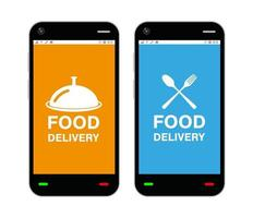 Smartphones with food delivery application logo on screen vector