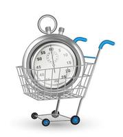 real steel stopwatch on a shopping cart vector