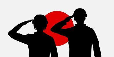 silhouette japan soldier on rising sun japan flag vector