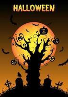 halloween silhouette dead tree in night graveyard vector