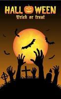mano de zombies de halloween en un cementerio vector
