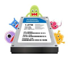 dentro de un disco duro interno con computadora con virus vector