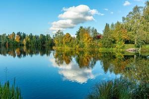Árboles de colores otoñales a lo largo de la orilla de un lago en Suecia foto