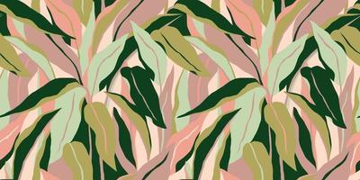 artístico de patrones sin fisuras con hojas abstractas. diseño moderno para papel, cubierta, tela, decoración de interiores y otros vector