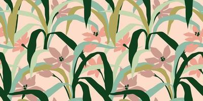 patrón artístico sin fisuras con hojas abstractas vector
