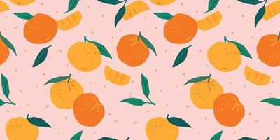 Vector seamless pattern with mandarins
