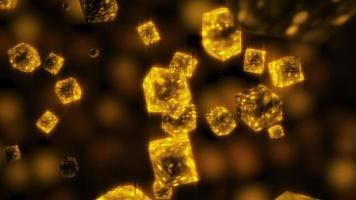 Glowing Gold Metallic Crystal Particles Random Floating Loop video