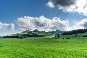 A huge green field of grass under blue sky photo