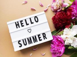 Light box with Hello Summer text and peonies photo