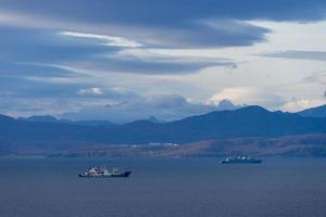 paisaje marino con vistas a la bahía de avacha. petropavlovsk foto