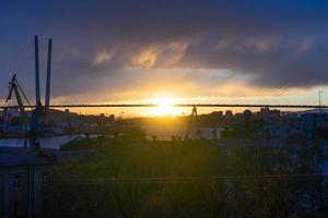 The city skyline in the sunset light. photo