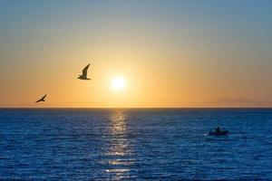 paisaje marino en la noche con puesta de sol. foto