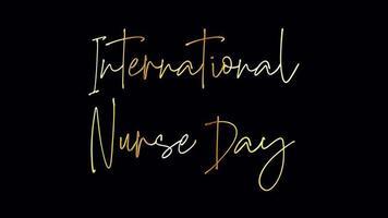 loop de efeito de texto manuscrito dourado do dia internacional da enfermeira video