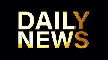 Animación de bucle de efecto de luz de texto dorado de noticias diarias video