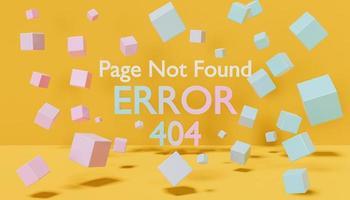 Signo de error 404 con cubos flotando a su alrededor. foto