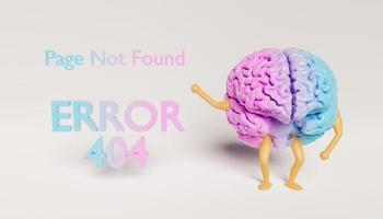 Cerebro de juguete con brazos y piernas que muestra un signo de error 404 foto
