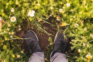 Primer plano de los pies en el suelo con muchas flores de primavera alrededor foto