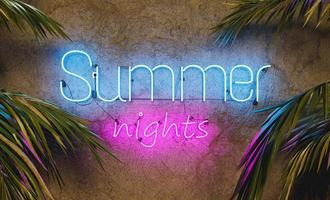 Neon sign on cement wall with the word SUMMER NIGHTS and palm leaves on the sides. 3d rendering photo