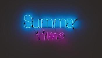 Neon lamp with the words SUMMER TIME on a plain wall. 3d rendering photo