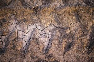 Texture of dry broken ground with tractor wheel tracks photo