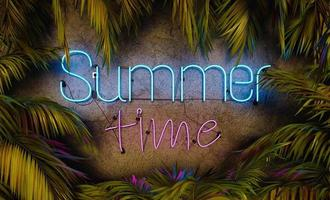 Neon lamp with the words SUMMER TIME surrounded by palm leaves photo