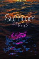 neón reflejado en el mar con las palabras horario de verano foto