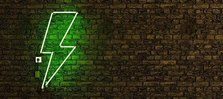 Realistic neon lamp with green lightning symbol photo
