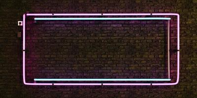 Pink and blue realistic neon lamp empty frame on brick wall photo