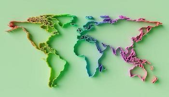 Relief world map with rainbow gradient color photo