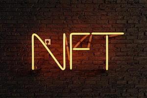 Yellow neon lamp with illuminated NFT sign photo