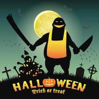 monstruo carnicero de halloween en un cementerio nocturno vector