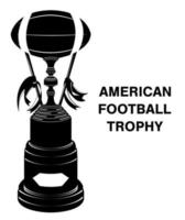 black silhouette american football trophy isolated vector