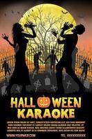 halloween zombie singing karaoke music at cemetery poster vector