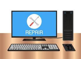 Computadora de escritorio con logotipo de reparación en pantalla vector