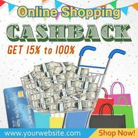 online shopping cashback promotion banner vector