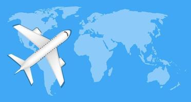 airplane over blue world map travel concept vector