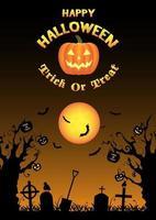 silhouette halloween graveyard background vector