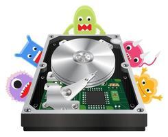Vista interior de un disco duro interno con una computadora con virus vector