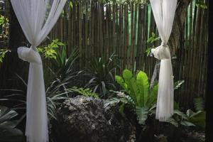 exuberante jardín tropical con cortinas al aire libre foto