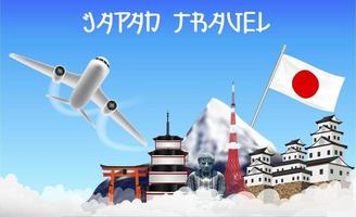 japan travel with airplane and landmarks vector