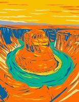Curva de herradura un meandro inciso en forma de herradura del río Colorado vector